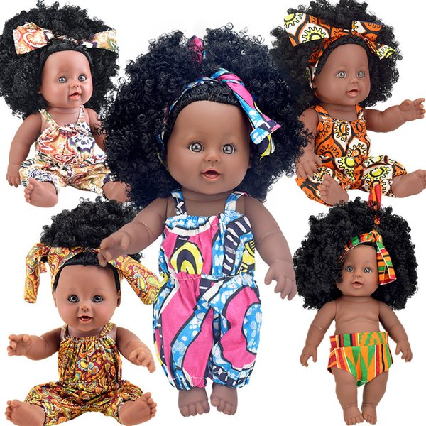 best selling 30cm afro USA 30cm 12inch black baby dolls full silicone vinyl reborn pop boneca baby soft toys toy kid doll princess