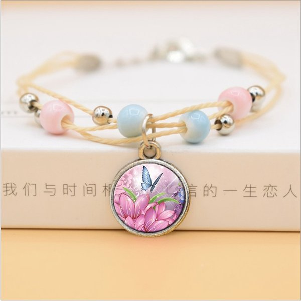 Creative Ceramic Beads Bracelet Butterfly Flower Glass Pendant Charms Bracelets For Women Fashion Summer Jewelry 2019