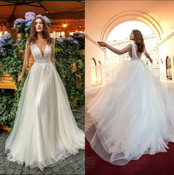 Appliqued City Garden Wedding Dresses Deep V Front and Back Beaded Lace Appliqued Tulle Long Bridal Gown New Papilio Light Dress Custom Made