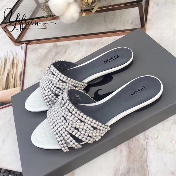 YIFSION Yeni Moda Hakiki Deri Yaz Ayakkabı Kadın Terlik Burnu açık Kristal Kadınlar Rahat Ayakkabılar Düz Terlik Kadın