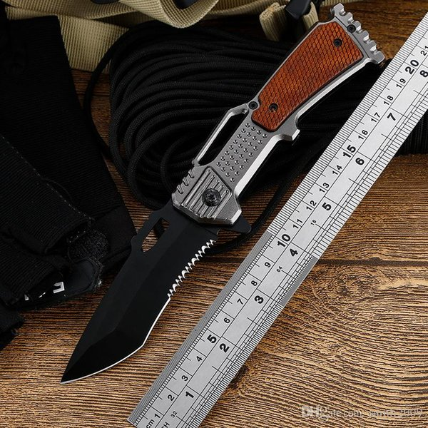 Outdoor tactics survival knife multi-function outdoor knife Q06 half serrate blade mini pocket knife EDC tools free shippping wholesale