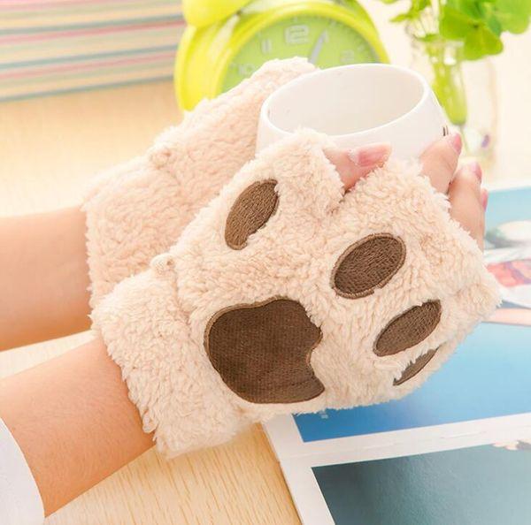 Lady Winter Fingerless Gloves Mittens Fluffy Bear Cat Plush Paw Claw Half Finger Glove Soft Half Covered Women Female sports working Gloves