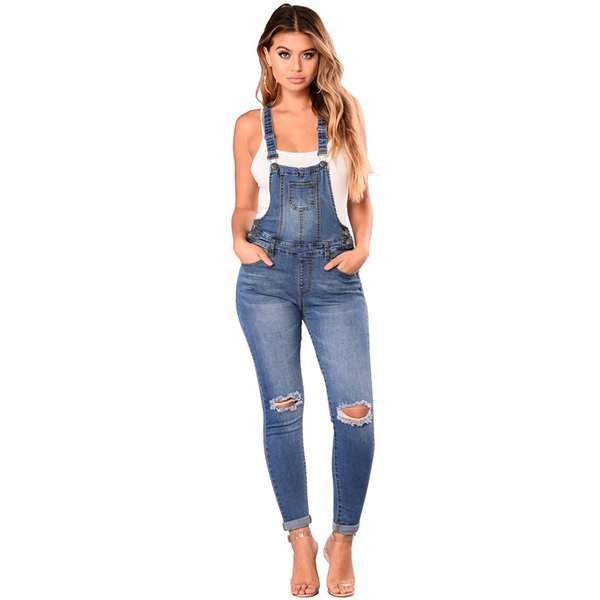 TUHAO 2019 Spring Summer Womens Denim Jumpsuits Overalls Sexy Jeans Office Casual Button Pocket Pencil Pants Femme Trousers DLM