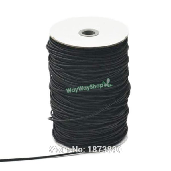 top popular 140 Yards Round Elastic Cords Sewing beading Lines 2.5mm Loops Leather Craft White Black Choice 2021