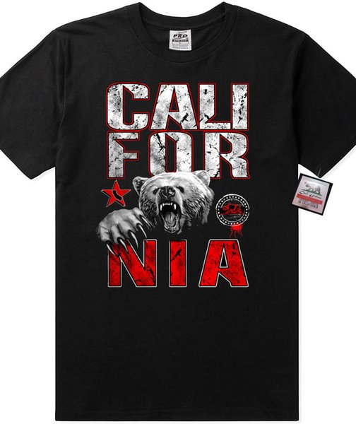 Pro 5 California Mad Bear T shirt Angry Grizzly Graphic West Coast Style CA Tee Men Women Unisex Fashion tshirt Free Shipping black