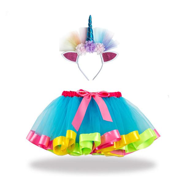 Girls Tutu Dress with Unicorn Headband Rainbow Princess Tutu Skirt with Bow Baby Girl Clothes Kids Skirts