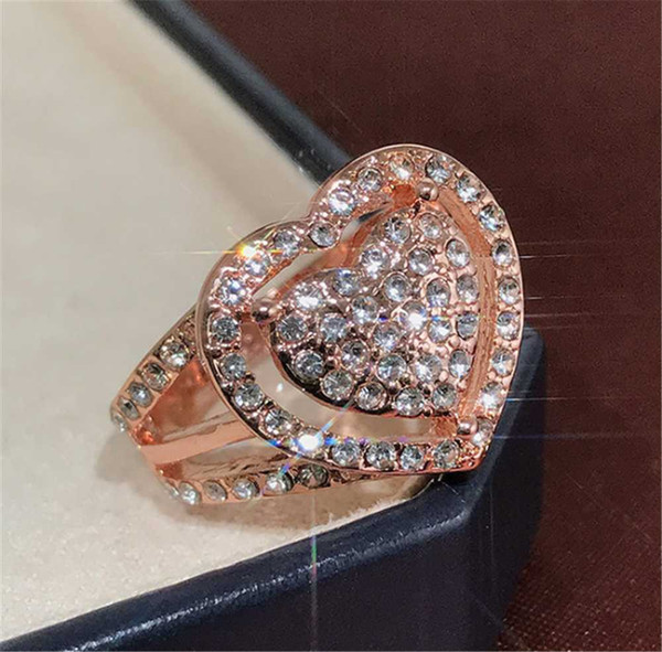 Rose Flower 925 Silver Rose Gold Cubic Zirconia Wedding Party Ring Size 6-10