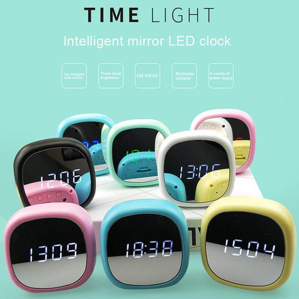 Multi-functional Mirror Electronic Alarm Clock Mini Bedside Clock Battery or Plug-in-15