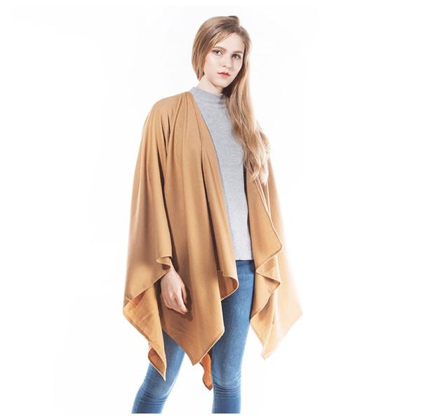 2019 Moda 140 * 140mm Praça de Inverno Mulheres Poncho Macio Quente Cashmere Cachecol De Lã Capa Pashmina Sólida Xale