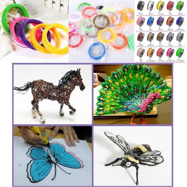 5M 10M / couleur 30 filament de stylo de couleurs 3d ABS / PLA 1.75mm matériaux de filament d'imprimante 3D pour stylo d'impression 3D