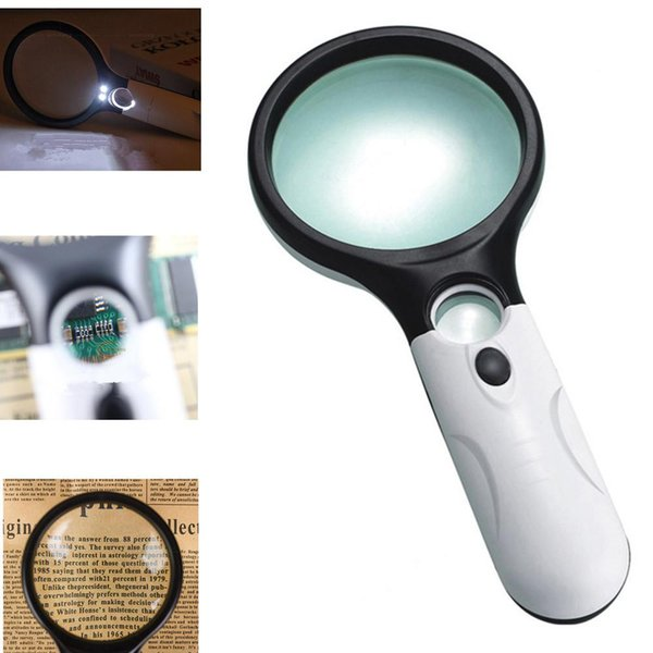 Portable 45X Double Lens Lighted Magnifying Glass Handheld Reading Magnifying Glass Loupe with 3 LED White Light