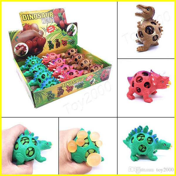 Anti Stress Dinosaur Ball Novelty Fun Splat Grape Venting Balls Squeeze Stresses Reliever Gags Practical Jokes Toy Funny Gadgets