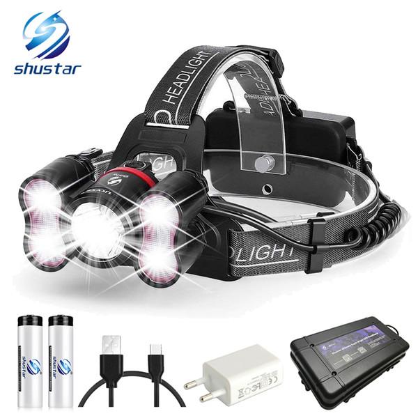 5 LEDS super helle LED-Scheinwerfer 10000 Lumen LED Headlighr 4 Schaltmodi Angeln Lampe Wasserdichter Scheinwerfer + 2x 18650 Batterien