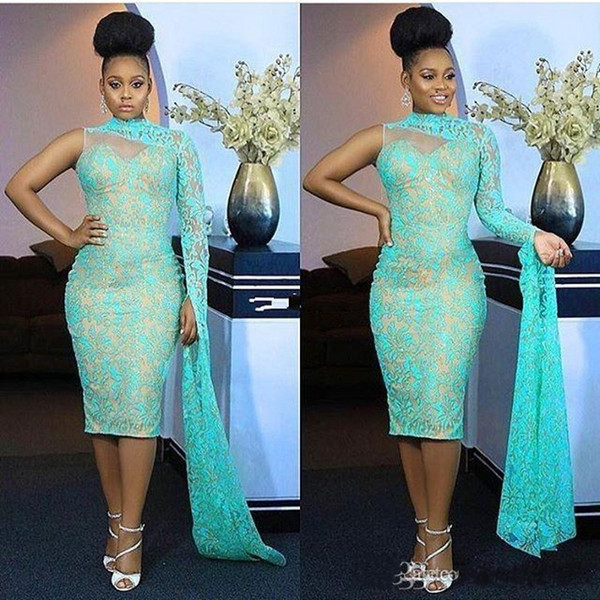 New Lace Tea Length Nigerian Evening Dresses 2019 High Neck One Shoulder Formal Prom Dresses Aso Ebi Style Party Gowns