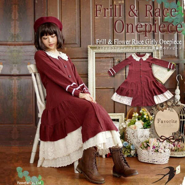 Spring Lolita Dress Women Sweet Knitting Cotton Lace Ruffles Red Dress Long Sleeve Frill Button One Piece Ladies Dresses T639