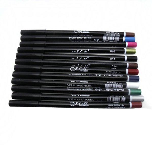 MENOW 12 Colors EyeLiner Pencil Pen Eyebrow Glitter Shadow Cosmetic  Set Kit Freeshipping 5p921