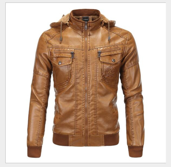 Nueva chaqueta de cuero con capucha de piel de oveja con capucha de piel de oveja clásica de cuero y terciopelo para hombre de 2019