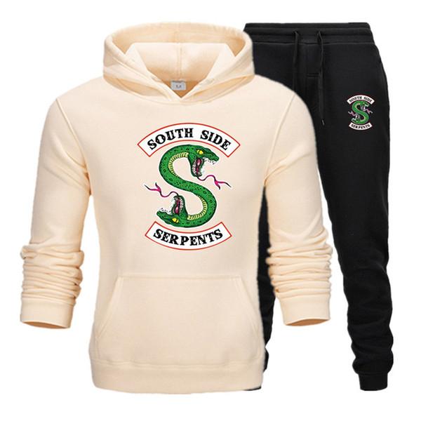 2019 новый спортивный костюм из двух частей толстовки + брюки осень / зима Riverdale толстовки кофты костюм мужской беговые спортивные костюмы T8