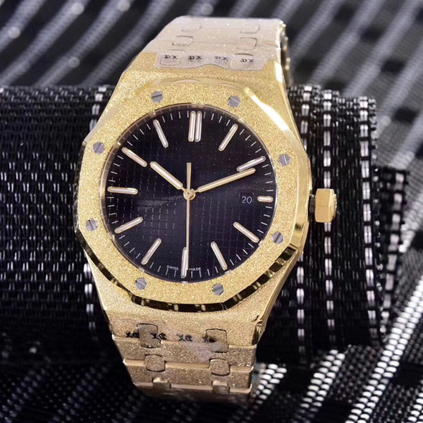 14 colores Diamantes barrido automático Royal Frosted Black Dial Oak para hombre Reloj de oro rosa Manecillas en tono plateado Bisel fijo Tamaño 42mm Deslizamiento suave