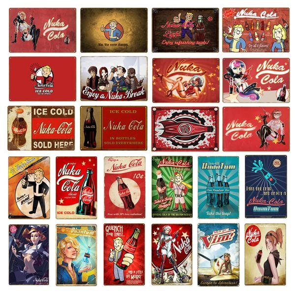 Vintage Fallout 3 4 Gioco Metal Tin Signs Wall Art Print Stickers per Pub Bar Club Shop Decorazione della casa Nuka Cola Poster