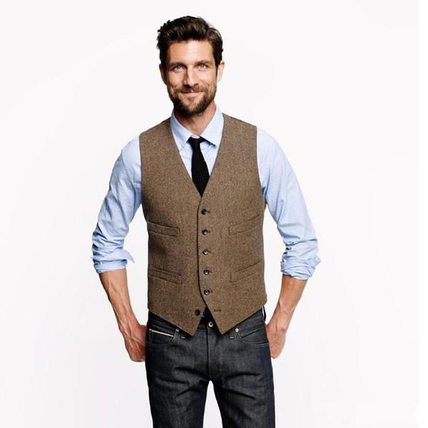 2019 Vintage Brown chalecos de novio para la boda rústica Tweed Herringbone traje para hombre chalecos Slim Fit chaleco de vestir chaleco personalizado ajustable