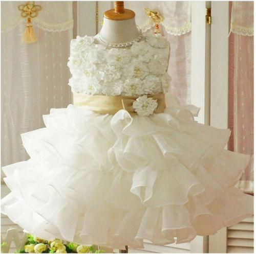 Ivory Baby Flower Girls Dresses Lace Applique Bow Ruffles Tired Skirts Pageant Party Dress Birthday First Communion Gowns For Wedding