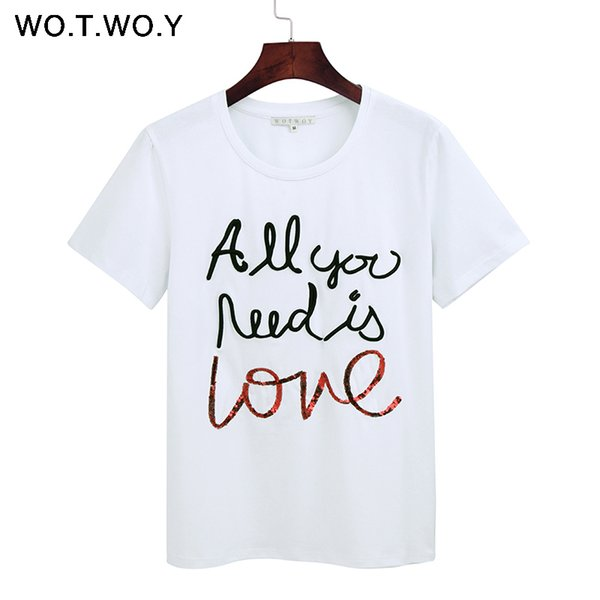 WOTWOY Summer Sequin Tops Tees Woman Funny Letter Embroidery T Shirt Women Black White O-Neck Cotton T-Shirt Femme New Q190522