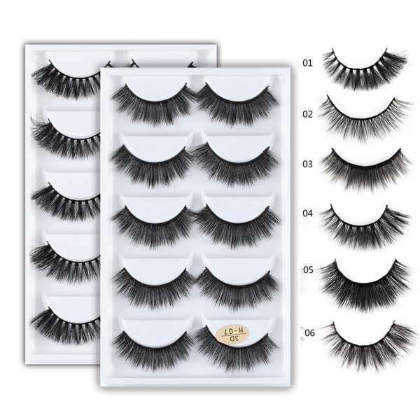 5 Pairs 3D Mink Hair Natural Cross False Eyelashes Long Messy Makeup Fake Eye Lashes Extension Make Up Beauty Tools maquiagem D19011701