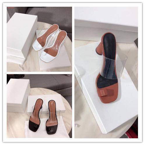 2019 El más nuevo zapatilla transparente Mujer Bombea Hebilla Sandalias Zapatos de tacón alto Celebrity Wearing Estilo simple PVC transparente transparente tiras