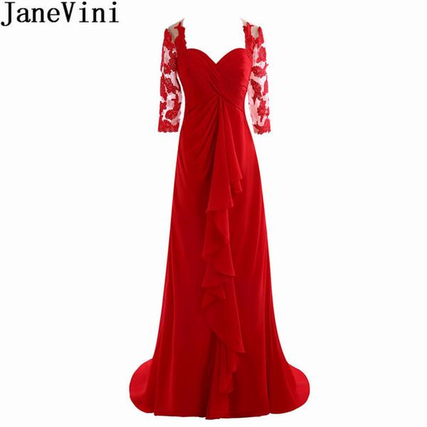 JaneVini Elegant Red Lace Formal Evening Dresses Half Sleeves Mermaid Sheer Chiffon Long Party Dress Ladies Prom Dinner Gowns Lange Jurk