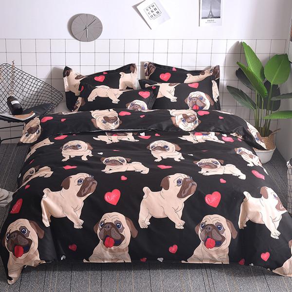 Capa de edredão set 3 pcs macio aconchegante cão impresso consolador capa definir vários tipos de conjunto de cama queen size rei disponível