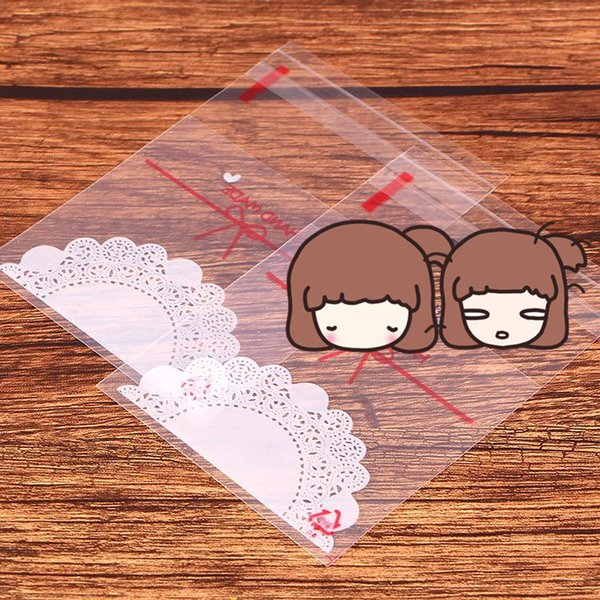400pcs / Lot 7 * 7cm MÃO FEITA Carta Biscoito Embalagem autoadesivo sacos de plástico para Biscuit Evento Snack Cupcake Baking Package
