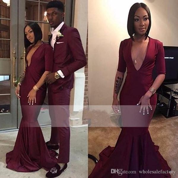Hot Burgundy Long Prom Dresses 2K17 Deep V Neck Half Sleeves Stretch Satin Jersey Floor Length Black Girls Mermaid African Evening Gowns