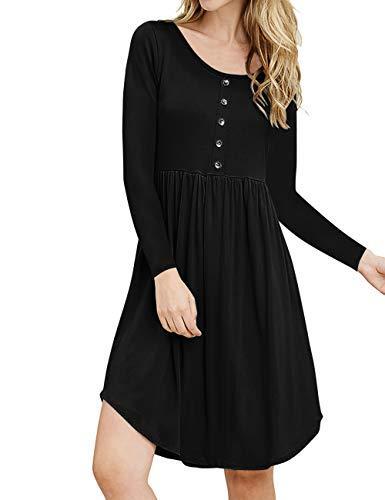 OdosaliiWomen's Long Sleeve Swing T-Shirt Dresses Loose Plain Dresses Pleated Midi Dress with Pockets