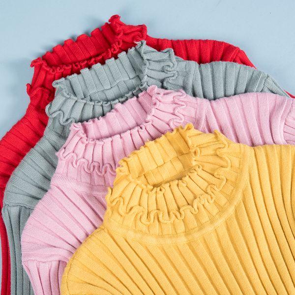 Maglioni da donna a collo alto increspato 5 colori Manica lunga Inverno Autunm Pullover a maglia casual Maglieria Maglione rosso rosso FS8220