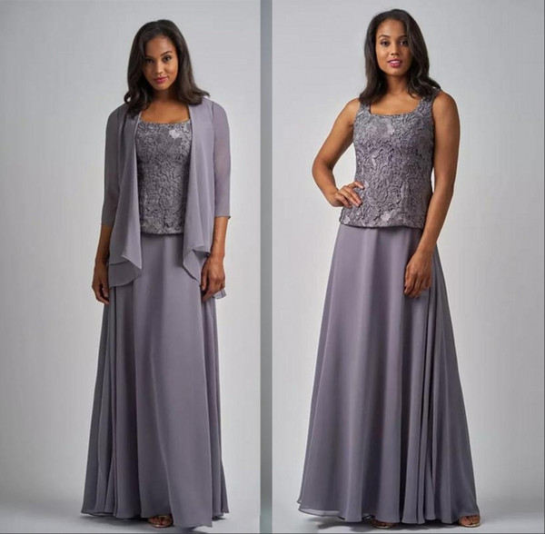 Chiffon Long Mother Of The Bride Dresses Square Neck 3/4 Long Sleeve Jacket Grey Mother's Dress Floor Length Formal Evening Gowns