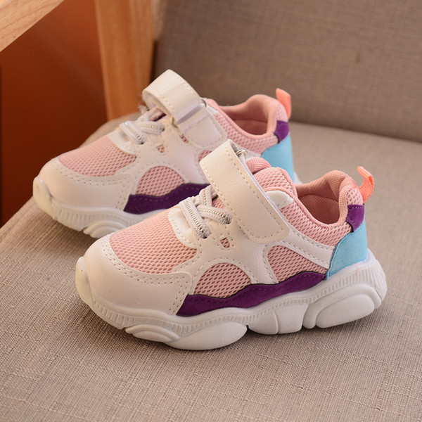 best selling 2019 Spring Autumn Children Sport Shoes Mesh Breathable Boys Girls Sneakers Stitching color Kids Fashion Running Shoes EUR 22-30