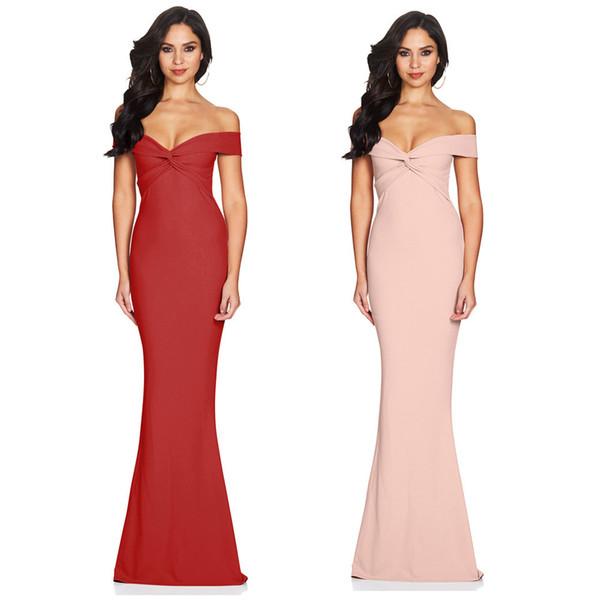 BacklakeGirls Nuevas llegadas Vestidos de noche de satén Fuera del hombro Cuello de barco Sirena larga Vestidos de mujer para fiesta formal
