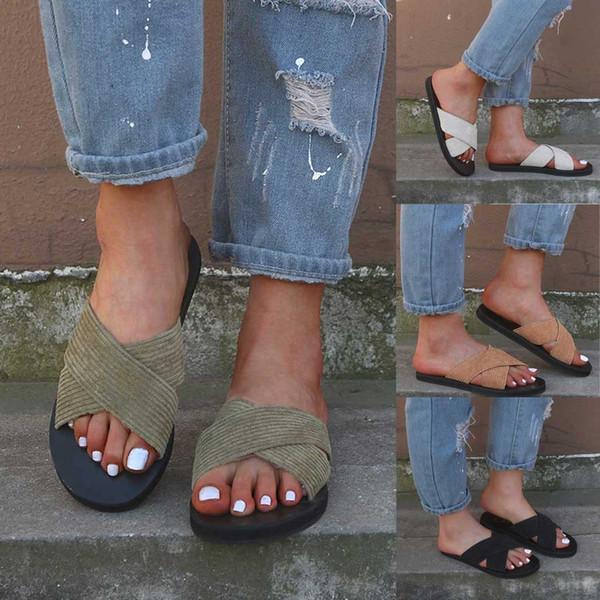 2019 Zapatillas de Mujer Verano Retro Roma Zapatillas Moda Casual Inicio Zapatillas Cómodas Zapatos de Playa de Interior al aire libre # z30