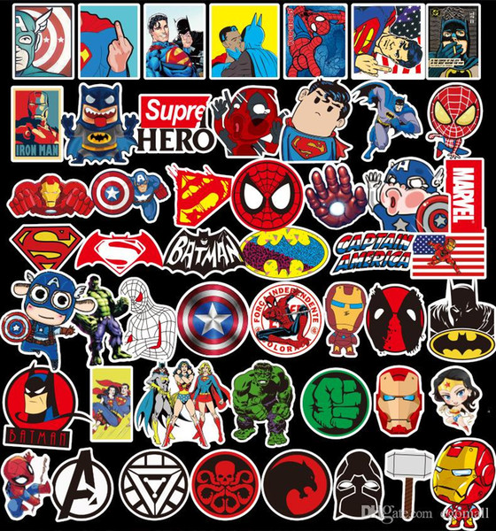 50 Adet / grup Marvel Anime Klasik Çıkartmalar Oyuncak Dizüstü Kaykay Bagaj Çıkartması Dekor Için Komik Demir Adam Spiderman Çoc ...