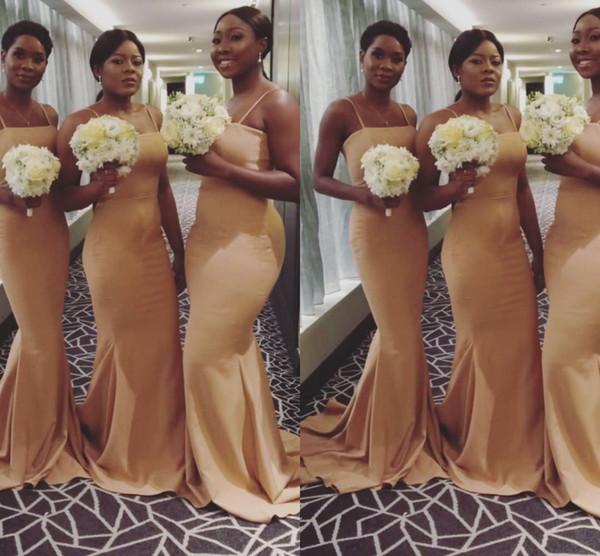 2019 primavera amarelo vestidos de dama de honra longo espaguete Africano Nigéria até o chão sereia ouro empregada de honra vestido de bm0619