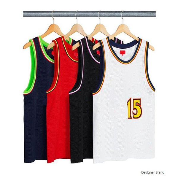 18SS Box Logo Bolt Basketball Jersey Vest T Shirt Luxury Men Women Street Outdoor Sport Sleeveless Casual Summer Cool Tee Vest HFYMTX353