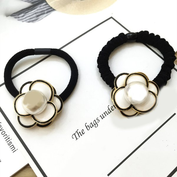Super size camellia pearl hair circle handmade original hair decoration Korean version 100 thick leather tendons high elasticity 6pcs/lot