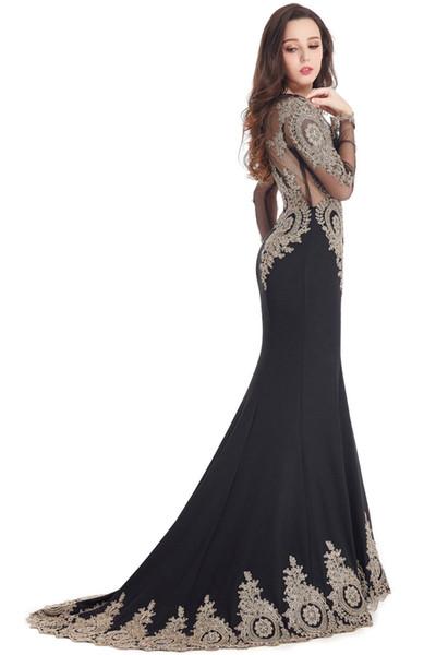 Longue Real Kaftan Dubai Black Long Sleeve Mermaid Evening Dresses Formal Evening Gowns China Vestido Longo