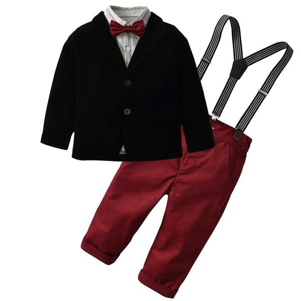 Criança Menino Roupas Conjuntos 2019 Roupa Dos Miúdos Outono Inverno Crianças Roupas Menino Conjuntos Cavalheiro Terno T-shirt + Jeans Roupas Ternos