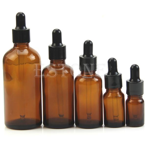 5ml / 10/30/50 / 100ml Cristal de ámbar Reactivo líquido Pipeta Botella Gotero de ojos Aromaterapia
