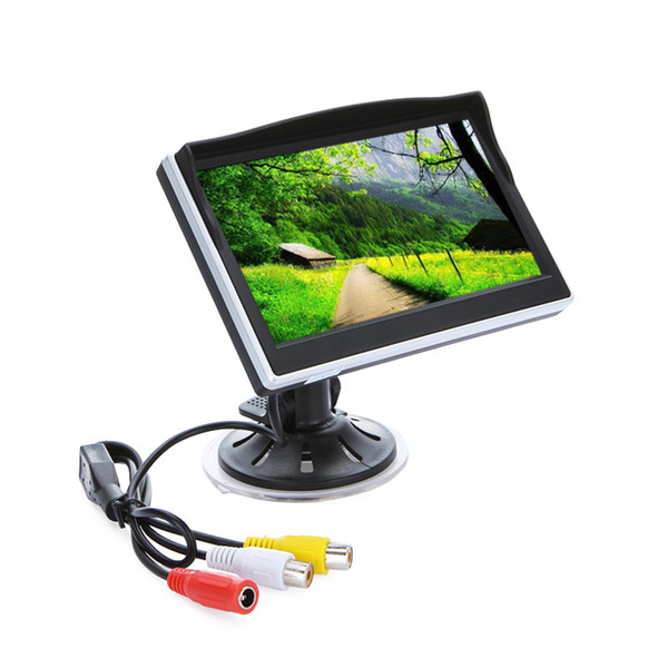 Freeshipping Car Monitor Display 5 inch Camera TFT LCD Screen Digital Color Rear View Monitor Support VCD DVD GPS Camera with 2 Video Inputs