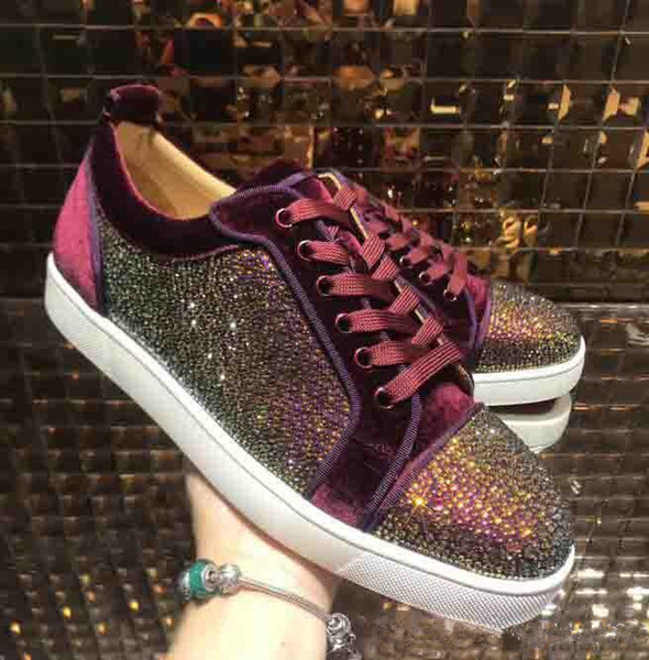 Genuine Leather Red Bottom Sneakers Low Cut Shoes Rhinestone Crystal Sneakers Mens Womens Casual Shoes Brand New Wholesale Price 36-46