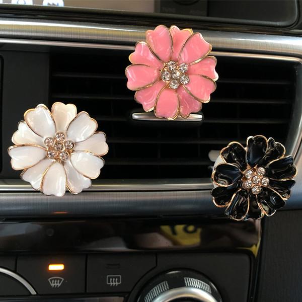 Désodorisant Pétale De Voiture Logo parfum Diamant Climatiseur Outlet clip décoration Désodorisant De Voiture Styling Lady Parfums
