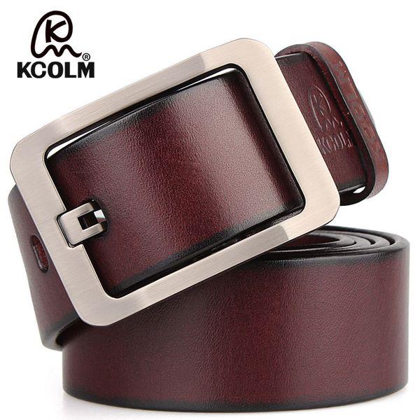 Cinturones de cuero genuino de hebilla de pasador de estilo vintage para hombres Cinturones de hombre de alta calidad Cinturones de lujo Hombre PD-08